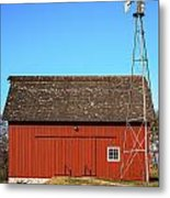 Red Barn And Windmill Metal Print