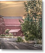 Red Barn At The Curve Metal Print