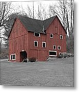Red Barn In Black And White Metal Print by Randy Edwards