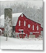 Red Barn In Heavy Snow Metal Print