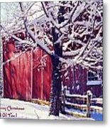 Red Barn In The Winter Connecticut Usa Metal Print