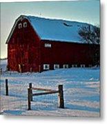 Red Barn In Winter ... Metal Print