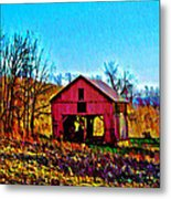 Red Barn On A Hillside Metal Print
