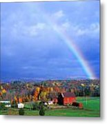 Red Barn Rainbow Metal Print