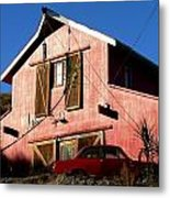 Red Barn Red Car Metal Print