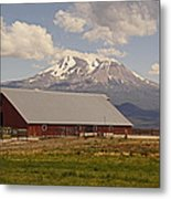 Red Barn Under Mount Shasta Metal Print