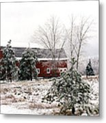 Michigan Red Barn Winter Scene Snow Landscape Metal Print