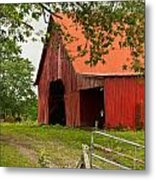 Red Barn With Orange Roof 1 Metal Print