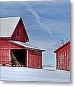 Red Barns In The Snow Metal Print
