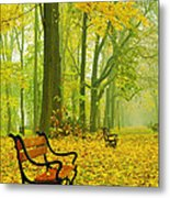 Red Benches In The Park Metal Print by Jaroslaw Grudzinski