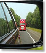 Red Big Truck Behind Metal Print