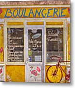 Red Bike At The Boulangerie Metal Print