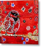 Red Bird On A Branch Metal Print