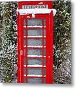Red British Phonebox In The Snow Metal Print