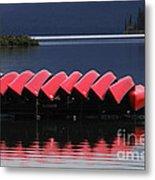 Red Canoes Maligne Lake Metal Print
