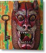 Red Cat Mask Metal Print
