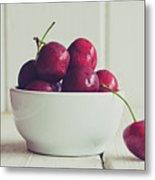 Red Cherries In White Bowl Metal Print