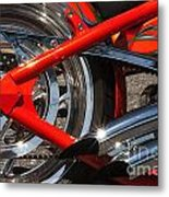 Red Chopper Detail Metal Print