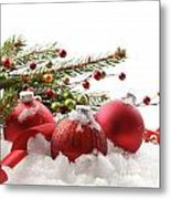 Red Christmas Balls In The Snow  Metal Print