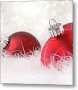 Red Christmas Balls In White Feathers  Metal Print