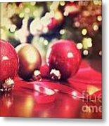 Red Christmas Ornaments With Vintage Look  Metal Print