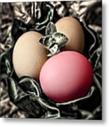 Red Classy Easter Egg Metal Print