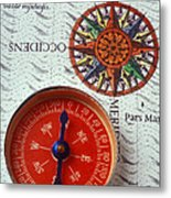 Red Compass And Rose Compass Metal Print