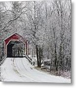 Red Covered Bridge In The Winter Metal Print