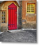 Red Door And Yellow Windows Metal Print