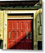 Red Door In Half Shadow Metal Print