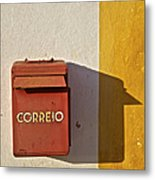 Red Faded Mailbox Of Portugal II Metal Print