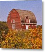 Red Fall Barn Metal Print