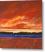 Red Field And Red Sky  Metal Print