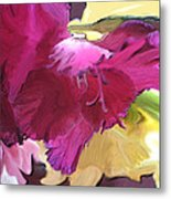 Red Flower In The Abstract Metal Print
