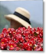 Red Flowers And Straw Hat Metal Print