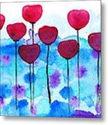 Red Flowers Watercolor Painting Metal Print