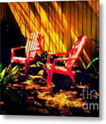 Red Garden Chairs Metal Print