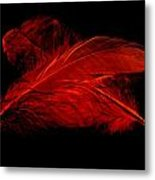 Red Ghost On Black Metal Print