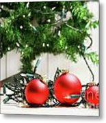 Red Glass Balls With Lights  Metal Print by Sandra Cunningham