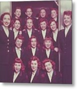 Red Haired Women In Front Of Elevator Metal Print by Archive Holdings Inc.