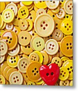 Red Heart And Yellow Buttons Metal Print