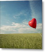 Red Heart Balloon, Blue Sky And Fields Metal Print