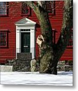Red House And Snow Metal Print