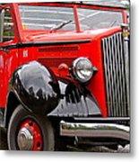 Red Jammer Tour Bus Glacier National Park Metal Print