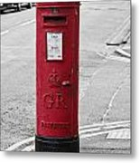 Red King George V Postbox Metal Print
