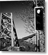 Red Light Traffic Control At The Single Track Connel Bridge On The A828 Coastal Route Road Over Loch Metal Print by Joe Fox