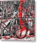 Red Lights Canal In Amsterdam Metal Print