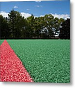 Red Line On An Athletic Field Metal Print