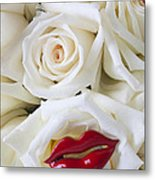 Red Lips And White Roses Metal Print