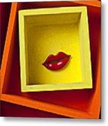 Red Lips In Yellow Box Metal Print